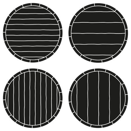 Black and white copy space on barrel silhouette set. Template for ad sign. Alcoholic beverage themed vector illustration for poster, leaflet, certificate, flayer, brochure or invitation background