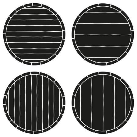 Espace de copie noir et blanc sur l'ensemble de silhouette de baril. Modèle d'enseigne publicitaire. Illustration vectorielle sur le thème des boissons alcoolisées pour affiche, dépliant, certificat, écorcheur, brochure ou fond d'invitation