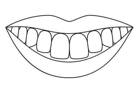 Dessin au trait noir et blanc sourire sain. Page de livre de coloriage pour adultes et enfants. Illustration vectorielle de soins dentaires pour icône, autocollant, logo, timbre, étiquette, badge, certificat, dépliant ou décoration de bannière