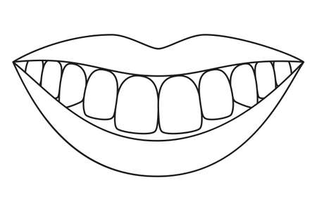 Line art black and white healthy smile. Coloring book page for adults and kids. Dental care vector illustration for icon, sticker, logo, stamp, label, badge, certificate, leaflet or banner decoration 矢量图像