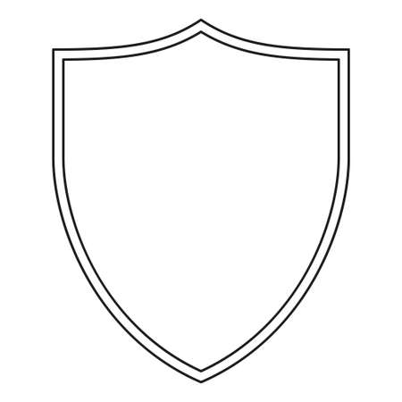 Line art black and white shield. Protection symbol with copyspace for ad. Safety themed vector illustration template for poster, leaflet, certificate, flayer, brochure or invitation background