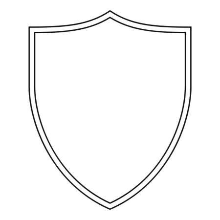 Scudo in bianco e nero di arte di linea. Simbolo di protezione con copyspace per annuncio. Modello di illustrazione vettoriale a tema di sicurezza per poster, volantini, certificati, flayer, brochure o inviti