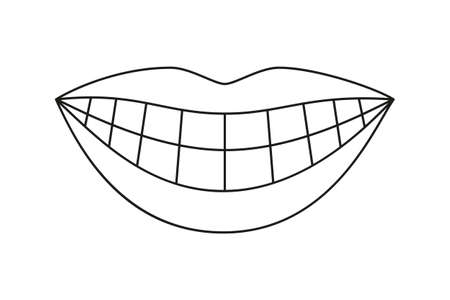 Line art sorriso sano donna in bianco e nero. Pagina del libro da colorare per adulti e bambini. Illustrazione vettoriale di assistenza sanitaria dentale per la decorazione di icone, adesivi, timbri, etichette, badge, certificati o banner pubblicitari Vettoriali