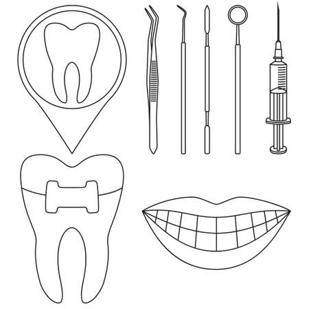Line art black and white dental check 8 elements set. Timely proper dentalcare concept. Healthcare vector illustration for icon, sticker, stamp, label, badge, certificate, leaflet or banner decoration