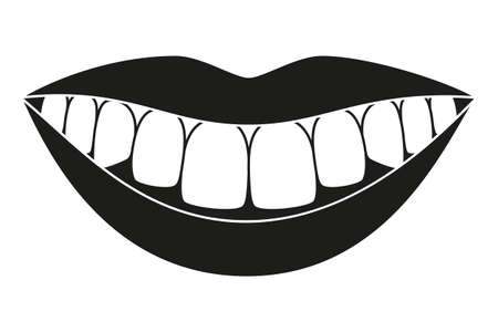 Black and white healthy smile silhouette. Timely dentalcare concept. Dental care vector illustration for icon, sticker, logo, stamp, label, badge, certificate, leaflet or banner decoration