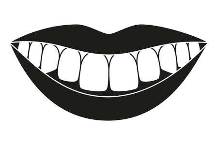 Silhouette de sourire sain noir et blanc. Concept de soins dentaires en temps opportun. Illustration vectorielle de soins dentaires pour icône, autocollant, logo, timbre, étiquette, insigne, certificat, dépliant ou décoration de bannière
