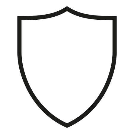 Sagoma scudo bianco e nero. Simbolo di protezione con copyspace per annuncio. Modello di illustrazione vettoriale a tema di sicurezza per poster, volantini, certificati, flayer, brochure o inviti