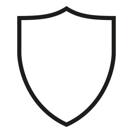 Schwarze und weiße Schildsilhouette. Schutzsymbol mit Exemplar für Anzeige. Sicherheitsthematische Vektorillustrationsvorlage für Poster, Broschüren, Zertifikate, Flayer, Broschüren oder Einladungshintergrund