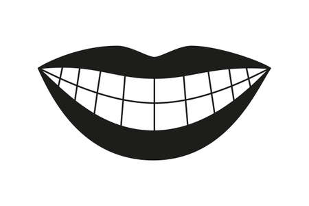 Silhouette De Sourire De Femme En Bonne Santé Noir Et Blanc. Illustration vectorielle de soins dentaires pour icône, autocollant, timbre, étiquette, insigne, certificat ou décoration de bannière publicitaire