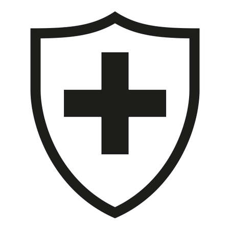 Black and white shield with medical cross silhouette. Health protection concept. Healthcare themed vector illustration for poster, leaflet, certificate, flayer or invitation background Ilustração