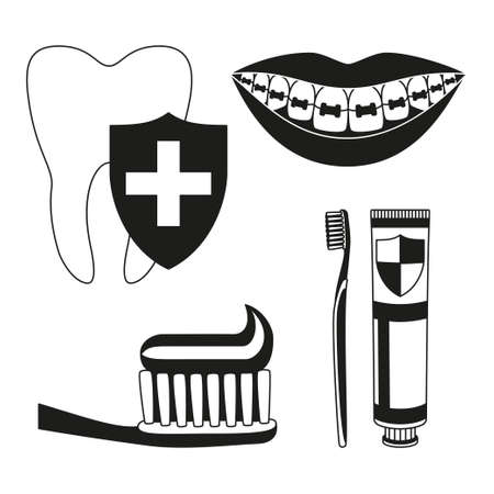 Black and white teeth cleaning 5 silhouette element set. Timely dental care concept. Dentalcare vector illustration for icon, sticker, stamp, label, badge, certificate, leaflet or banner decoration