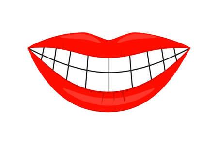 Sourire de femme saine de dessin animé coloré. Page de livre de coloriage pour adultes et enfants. Illustration vectorielle de soins dentaires pour icône, autocollant, timbre, étiquette, insigne, certificat ou décoration de bannière publicitaire