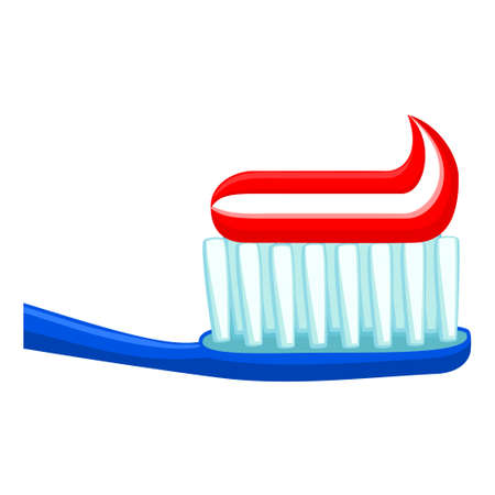 Colorful cartoon toothbrush with toothpaste. Proper oral hygiene concept. Dental care vector illustration for icon, sticker, stamp, label, badge, certificate leaflet or banner decoration