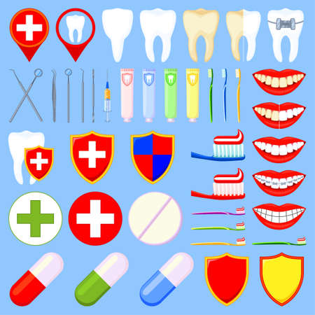 Colorful cartoon dental 42 elements set. Timely dentalcare and proper oral hygiene concept. Health care themed vector illustration for icon, label, badge, certificate or banner decoration Illustration