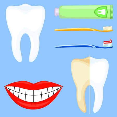 Colorful cartoon teeth cleaning 6 element set. Proper oral hygiene concept. Dental care vector illustration for icon, sticker, stamp, label, badge, certificate, leaflet or banner decoration
