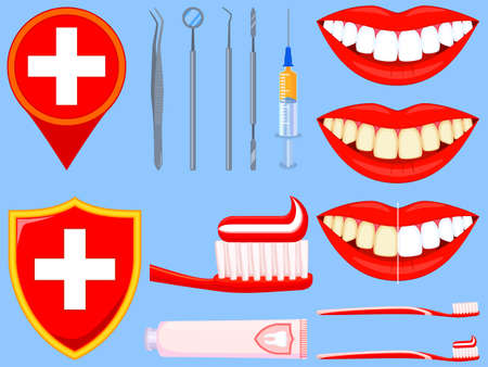 Colorful cartoon dental care 14 element set. Proper timely oral hygiene concept. Dentalcare vector illustration for icon, sticker, stamp, label, badge, certificate, leaflet or banner decoration Illustration