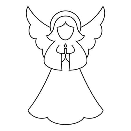 Line art black and white christmas angel. Coloring book page for adults and kids. Xmas themed vector illustration for icon, logo, stamp, label, badge, certificate, poster or gift card decoration Stockfoto - 110380339