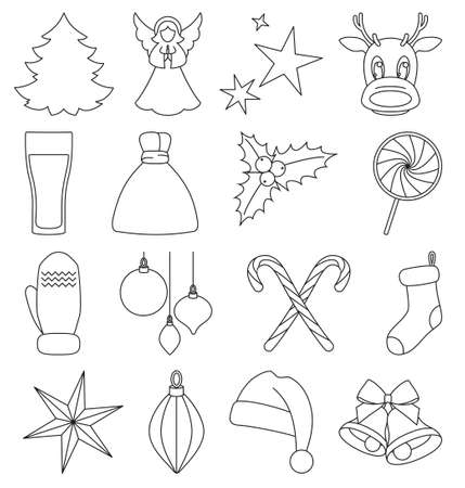 Line art black and white 16 christmas elements. New year holiday decorations. Xmas themed vector illustration for icon, logo, sticker, patch, label, sign, badge, certificate or gift card decoration