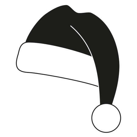 Black and white christmas hat silhouette. Warm furry cap for cold winter. New year holiday themed vector illustration for icon, logo, stamp, label, badge, certificate or gift card decoration