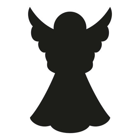 Black and white christmas angel silhouette. Religion symbol. Xmas themed vector illustration for icon, logo, stamp, label, badge, certificate, poster or gift card decoration