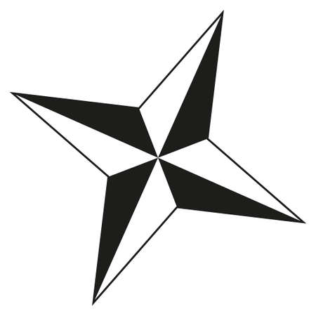 Black and white 4 point star silhouette. Xmas tree decoration. Symbol of success. Christmas themed vector illustration for icon, logo, sticker, patch, label, sign, badge, certificate or poster decoration Zdjęcie Seryjne - 110266596