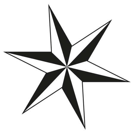 Sagoma stella a 6 punte in bianco e nero. Decorazione dell'albero di Natale. Simbolo di successo. Illustrazione vettoriale a tema natalizio per la decorazione di icone, logo, adesivi, patch, etichette, cartelli, badge, certificati o poster