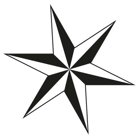 Black and white 6 point star silhouette. Xmas tree decoration. Symbol of success. Christmas themed vector illustration for icon, logo, sticker, patch, label, sign, badge, certificate or poster decoration