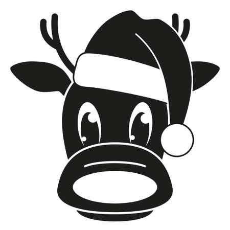 Cabeza de reno blanco y negro en silueta de sombrero. Carácter de vacaciones mascota divertida. Ilustración de vector de temática navideña para decoración de icono, logotipo, sello, etiqueta, insignia, certificado o tarjeta de regalo