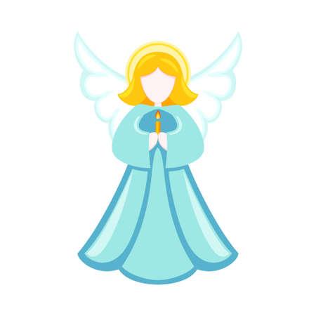 Ángel de Navidad de dibujos animados coloridos. Símbolo de la religión. Ilustración de vector de temática navideña para decoración de icono, logotipo, sello, etiqueta, insignia, certificado, cartel o tarjeta de regalo Logos
