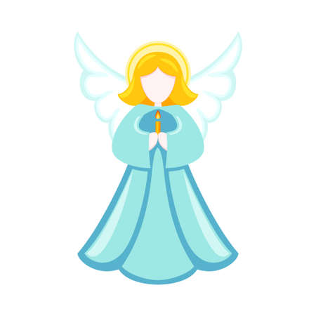 Colorful cartoon christmas angel. Religion symbol. Xmas themed vector illustration for icon, logo, stamp, label, badge, certificate, poster or gift card decoration