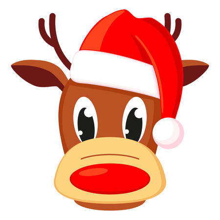 Colorful cartoon reindeer head in hat. Funny mascot holiday character. Christmas themed vector illustration for icon, logo, stamp, label, badge, certificate or gift card decoration