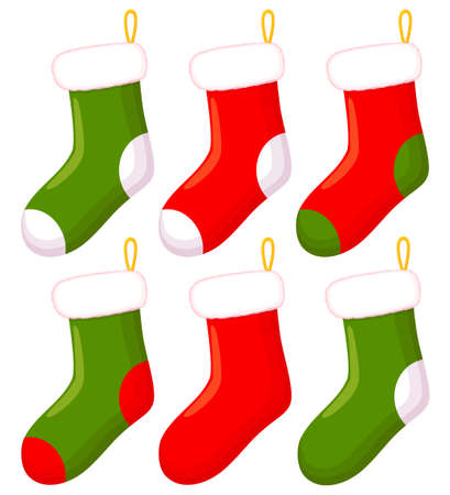 Colorful cartoon christmas sock set. Hanging stocking meant for presents. Xmas themed vector illustration for icon, logo, sticker, patch, label, sign, badge, certificate or gift card decoration