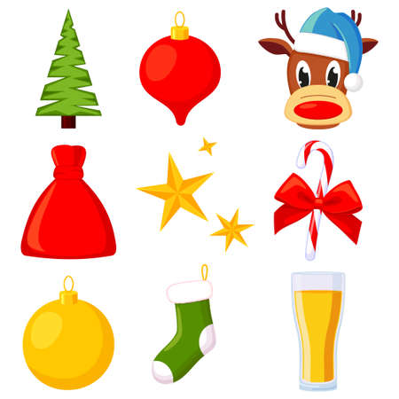 9 colorful cartoon xmas elements set. Traditional christmas holiday decorations. New year vector illustration for icon, stamp, label, badge, emblem, certificate, leaflet, poster or gift card decor Illustration
