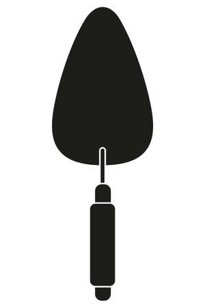 Black and white simple trowel silhouette. Handyman tool for home repair. Construction themed vector illustration for icon, logo, sticker, patch, label, sign, badge, certificate or flayer decoration