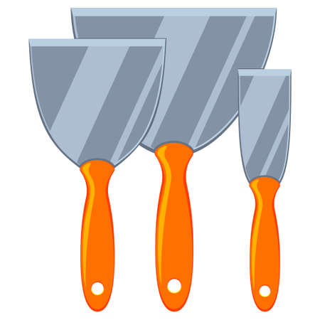 Colorful cartoon metal spatula set. Handyman tool for home repair. Construction themed vector illustration for icon, logo, sticker, patch, label, sign, badge, certificate or flayer decoration Çizim