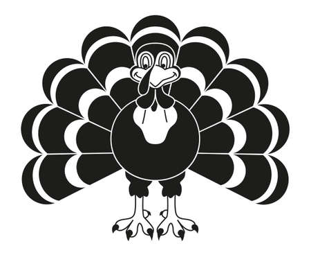 Black and white thanksgiving turkey silhouette. Holiday feast bird. Thanksgiving themed vector illustration for icon, logo, stamp, label, sticker, badge, gift card, certificate or flayer decoration