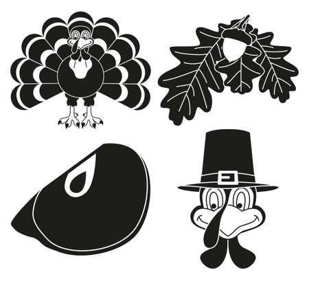 4 black and white thanksgiving silhouette elements set. Autumn turkey bird and plants. Fall festival themed vector illustration for icon, label, sticker, badge, gift card or flayer decoration