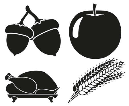 4 black and white harvest silhouette elements set. Festive comfort food. Autumn festival themed vector illustration for icon, stamp, label, sticker, badge, gift card, certificate or flayer decoration