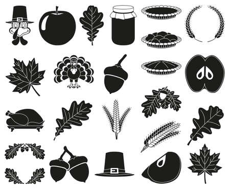 23 black and white thanksgiving silhouette elements Festive comfort food Harvest festival themed vector illustration for icon, stamp, label, sticker, badge, gift card, certificate or flayer decoration