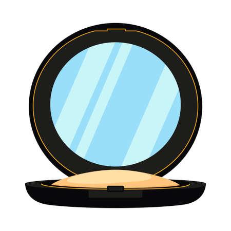 Cipria colorata del fumetto con lo specchio. Fard compatto per il trucco. Illustrazione vettoriale a tema moda e bellezza per icona, logo, timbro, etichetta, adesivo, badge, carta regalo o decorazione del certificato