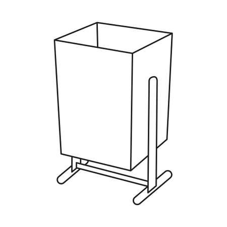 Line art black and white street garbage bin. Urban trash can. Waste disposal themed vector illustration for icon, logo, stamp, label, emblem, certificate, leaflet, brochure or banner decoration