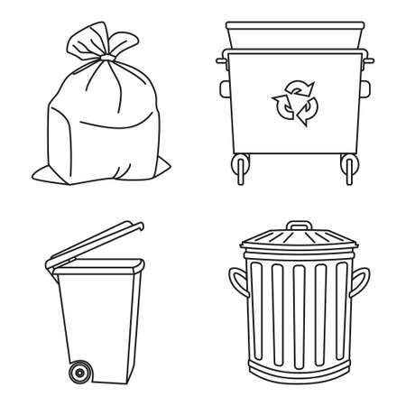 Line art black and white garbage collection. Trash bins and bag. Waste disposal themed vector illustration for icon, logo, stamp, label, emblem, certificate, leaflet, brochure or banner decoration Foto de archivo - 116786044