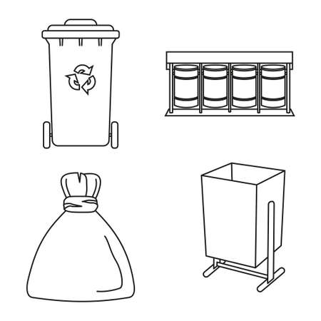 Line art black and white trash collection. Garbage bins and bag. Waste disposal themed vector illustration for icon, logo, stamp, label, emblem, certificate, leaflet, brochure or banner decoration Foto de archivo - 116786058