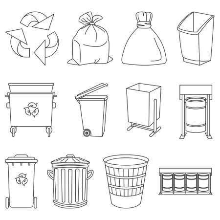 Line art black and white trash element collection. Garbage bins and bags. Waste disposal themed vector illustration for icon, logo, stamp, label, emblem, certificate, leaflet or banner decoration Foto de archivo - 116786133