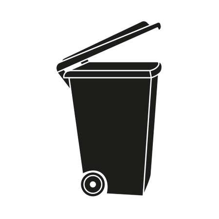 Sagoma vista laterale pattumiera aperta in bianco e nero. Cestino della spazzatura per il riciclaggio di strada. Illustrazione vettoriale a tema smaltimento rifiuti per icona, logo, timbro, etichetta, emblema, certificato, brochure o decorazione banner