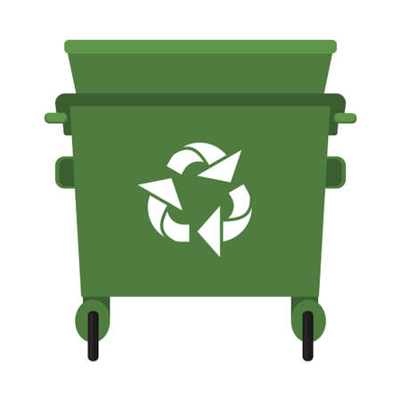 Colorful cartoon open garbage . Street recycle trash container. Waste disposal themed vector illustration for icon, logo, stamp, label, emblem, certificate, leaflet, brochure or banner decoration