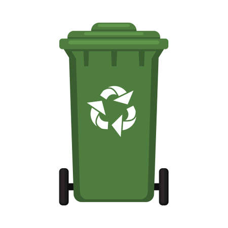 Colorful cartoon closed garbage box. Street recycle trash bin. Waste disposal themed vector illustration for icon, logo, stamp, label, emblem, certificate, leaflet, brochure or banner decoration Illustration