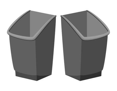 Cartoon pair of grey trash bins. Kitchen garbage container. Waste disposal themed vector illustration for icon, logo, stamp, label, emblem, certificate, leaflet, brochure or banner decoration