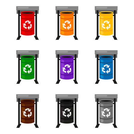 Colorful cartoon trash bins collection. Contaners for different types of trash. Waste disposal themed vector illustration for icon, logo, stamp, label, emblem, certificate or banner decoration