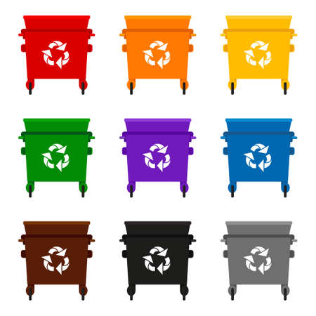 Colorful cartoon open trash can collection. Containers for different types of trash. Waste disposal themed vector illustration for icon, logo, stamp, label, emblem, certificate or banner decoration